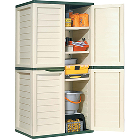 Designer plastic storage cupboard with four shelves